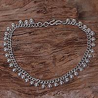 Sterling silver anklet, 'Moonlit Path' - Balinese Sterling Silver 925 Anklet with Round Charms