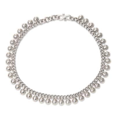 Balinese Sterling Silver 925 Anklet with Round Charms