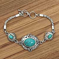Sterling silver pendant bracelet, 'Palace Garden' - Ornate Sterling Silver Bracelet with Reconstituted Turquoise