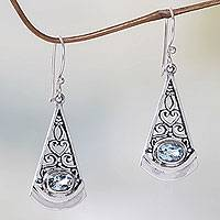 Blue topaz dangle earrings, 'Mount Agung Blue' - Artisan Crafted Sterling Silver Earrings with Blue Topaz
