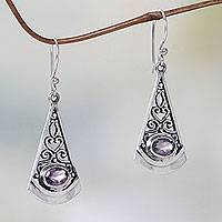 Amethyst dangle earrings, 'Mount Agung Lilac' - Lilac Amethyst and Sterling Silver Dangle Earrings from Bali