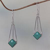 Sterling silver dangle earrings, 'Counterpoint' - Sterling Silver and Turquoise Dangle Earrings from Bali