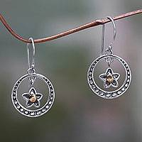 Gold accent dangle earrings, 'Wishing Star' - Balinese Fair Trade Sterling Earrings with 18k Gold Accents