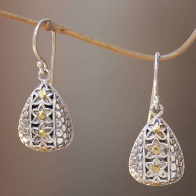 Gold accent sterling silver dangle earrings, 'Star Fall' - Balinese Handmade Sterling Silver Earrings 18k Gold Accents