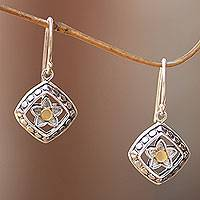 Gold accent sterling silver dangle earrings, 'Star Flower' - Handmade Petite Silver Earrings with 18k Gold Accents