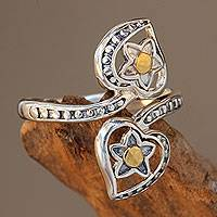 Gold accent sterling silver wrap ring, 'Stellar Hearts' - Balinese 18k Gold Accent Sterling Silver Wrap Ring