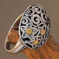 Gold accent sterling silver dome ring, 'Star Caress' - Fair Trade Silver Dome Ring with 18k Gold Accents