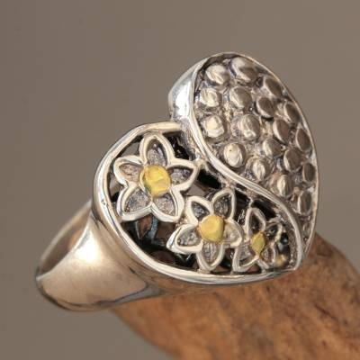 Gold accent sterling silver cocktail ring, 'Heart of Flowers' - Fair Trade Balinese 18k Gold Accent Sterling Silver Ring