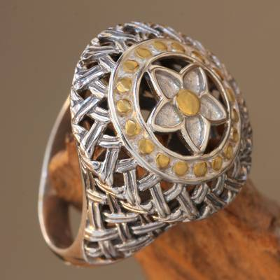 Gold accent sterling silver dome ring, 'Star Medallion' - Silver Star Motif Dome Ring with 18k Gold Accents