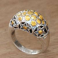 Gold accent sterling silver dome ring, 'Nebula' - Artisan Crafted Silver Dome Ring with 18k Gold Accents