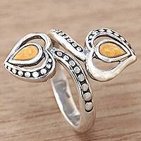 Gold accent sterling silver wrap ring, 'Heart of Gold' - Balinese 18k Gold Accent Sterling Silver Wrap Ring