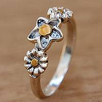 Gold accent sterling silver flower ring, 'Garland' - Bali Handmade Silver Heart Ring with 18k Gold Details
