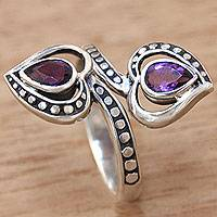 Amethyst wrap ring, 'Purple Hearts' - Artisan Crafted Amethyst and Sterling Silver Wrap Ring