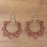 Wood hoop earrings,