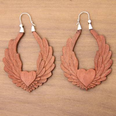 Wood hoop earrings, 'Angel Heart' - Artisan Crafted Balinese Wood and Silver Hoop Earrings
