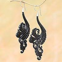 Water buffalo horn dangle earrings, 'Black Fern' - Bali Hand Carved Water Buffalo Horn Earrings Silver Hooks