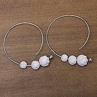 Sterling silver and bone hoop earrings, 'White Lotus' - Fair Trade Sterling Silver Earrings with Hand Carved Flowers