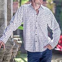 Men's cotton shirt, 'Bali Weave in Black and White' - Hand Crafted Men's White and Black Print Cotton Shirt