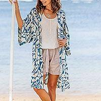 Rayon robe, 'Blue Floral Jungle' - Silk Screen Print Women's Blue and Ivory Rayon Robe