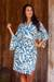 Rayon robe, 'Blue Floral Jungle' - Silk Screen Print Women's Blue and Ivory Rayon Robe (image 2c) thumbail