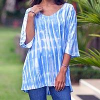 Rayon tunic, 'Ocean Currents' - Blue and White Tie-Dye Rayon V-Neck Tunic from Bali