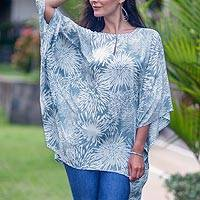 Rayon caftan, 'Grey Dandelion' - Floral Hand Stamped Rayon Caftan with Butterfly Sleeves