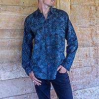 Men's cotton batik shirt, 'Ocean Currents' - Men's Cotton Batik Hand Stamped Long Sleeve Shirt