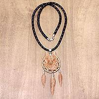 Leather and bone pendant necklace, 'Mother Wolf' - Hand Carved Wolf Totem Bone and Leather Necklace