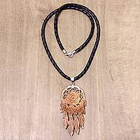 Leather and bone pendant necklace, 'Rose Bouquet' - Balinese Hand Carved Floral Bone and Leather Necklace