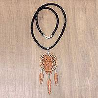 Leather and bone pendant necklace, 'Owl Queen' - Owl Theme Hand Carved Bone and Leather Necklace from Bali