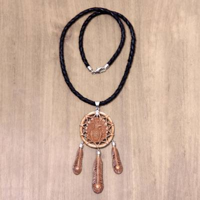 Leather and bone pendant necklace, 'Majestic Peacock' - Balinese Hand Carved Bone and Leather Peacock Necklace