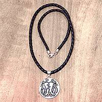 Leather and bone pendant necklace, 'Libra' - Libra Pendant Hand Carved Bone Leather Zodiac Necklace