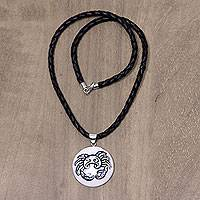 Leather and bone pendant necklace, 'Zodiac Crab' - Balinese Leather Necklace with Zodiac Crab Pendant