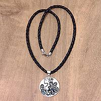 Leather and bone pendant necklace, 'Virgo' - Artisan Crafted Virgo Zodiac Leather Cord Pendant Necklace