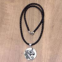 Leather and bone pendant necklace, 'Taurus' - Taurus Artisan Crafted Leather Cord Zodiac Pendant Necklace