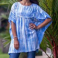 Rayon smock, 'Blue Banda Sea' - Blue and White Tie-dye Rayon Caftan Smock Top