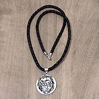 Leather and bone pendant necklace, 'Leo' - Balinese Handmade Leo Zodiac Leather Pendant Necklace