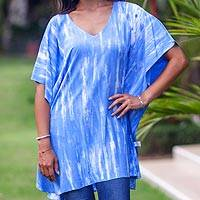Rayon caftan, 'Blue Banda Sea' - V-neck Caftan Blue White Tie-dye Rayon Smock Top