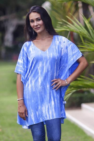 Rayon caftan, 'Blue Banda Sea' - V-neck Caftan Blue White Tie-dye Rayon Top