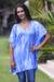 Rayon caftan, 'Blue Banda Sea' - V-neck Caftan Blue White Tie-dye Rayon Top thumbail