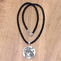 Leather and bone pendant necklace, 'Capricorn' - Capricorn Bone Pendant on Black Leather Cord Necklace