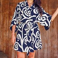 Rayon robe, 'Navy Roses' - Rayon Short Robe with Blue and White Flower Print