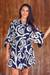 Rayon robe, 'Navy Roses' - Rayon Short Robe with Blue and White Flower Print thumbail