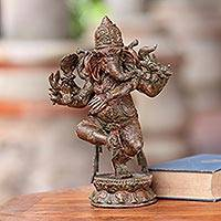 Bronze sculpture, 'Trimukha Ganesha' - Three Faced Ganesha Bronze Sculpture with Antiqued Finish