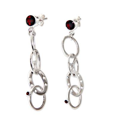 Peace Symbol Hand Crafted Garnet and Silver Dangle Earrings