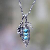 Sterling silver pendant necklace, 'Jaguar Peas' - Hand Crafted Silver Necklace with Reconstituted Turquoise