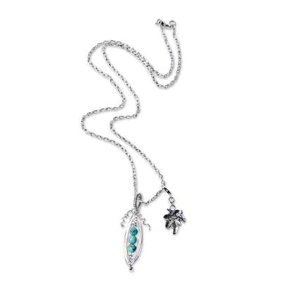Hand Crafted Silver Necklace with Reconstituted Turquoise