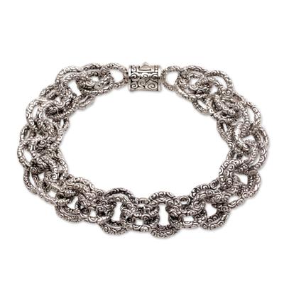 Opulent Sterling Silver Chain Bracelet from Bali