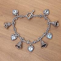 Blue topaz charm bracelet,