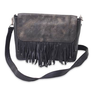 Antiqued Black Leather Handcrafted Shoulder Bag with Fringe